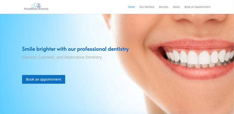 dental clinic website design sample